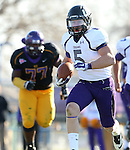 MANKATO, MN - NOVEMBER 1:  Brady Rose #5 for the University of Sioux Falls breaks loose past Bryan Keys #77 from Minnesota State Mankato in the third quarter Saturday afternoon at Blakeslee Stadium in Mankato. (Photo by Dave Eggen/Inertia)