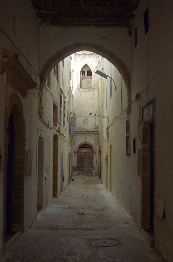 A view through an archway inside the Medina Walls of Essouira, Morocco