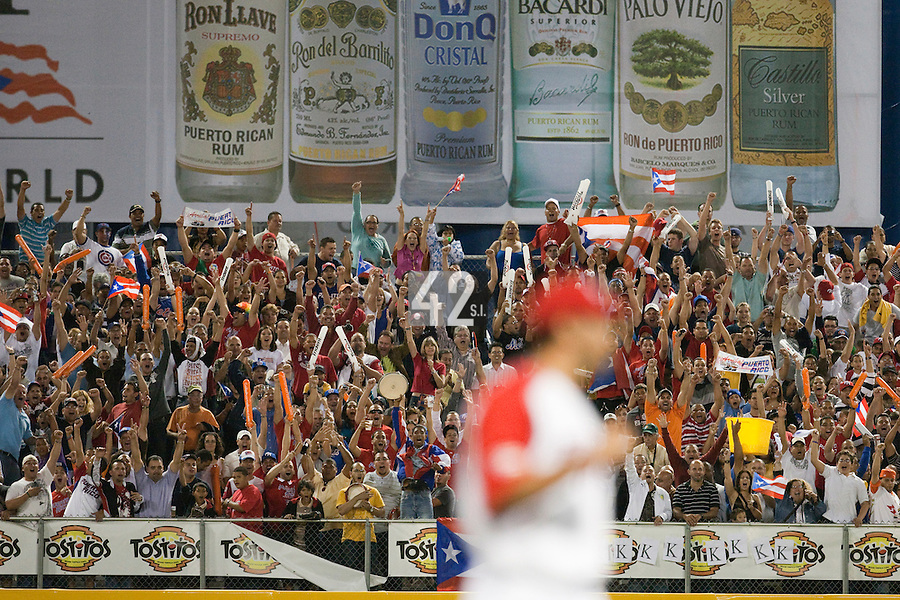 9 March 2009: Fans react after Puerto Rico victory during the 2009 World Baseball Classic Pool D game 4 at Hiram Bithorn Stadium in San Juan, Puerto Rico. Puerto Rico wins 3-1 over Netherlands
