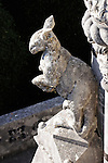 A statue of an animal sits on the roof of the estate Quinta da Regaleria in Sintra, Portugal..