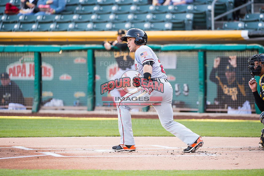 Juan Perez (2) of the Sacramento River Cats at bat against the Salt Lake Bees in Pacific Coast League action at Smith's Ballpark on April 20, 2015 in Salt Lake City, Utah.  (Stephen Smith/Four Seam Images)