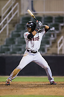 Leody Taveras (3) of the Hickory Crawdads at bat against the Kannapolis Intimidators at Kannapolis Intimidators Stadium on April 22, 2017 in Kannapolis, North Carolina.  The Intimidators defeated the Crawdads 10-9 in 12 innings.  (Brian Westerholt/Four Seam Images)