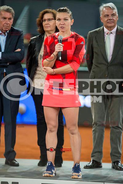 Romanian Simona Halep during Mutua Madrid Open Tennis 2016 in Madrid, May 07, 2016. (ALTERPHOTOS/BorjaB.Hojas) /NortePhoto.com