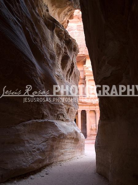 Petra<br /> <br /> The entrance to the Treasury in Petra, Jordan. Year: 2009.