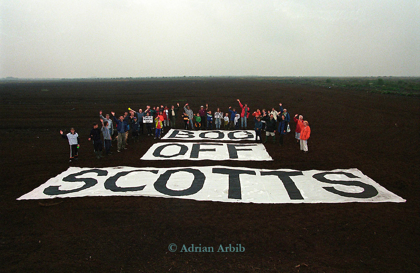 Locals protest outside Scotts peat factory on Thorne Moors.  Scotts continue to drain and extract peat from  this fragile ecosystem despite massive protest locally and nationally.