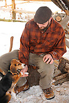 Toby Diltz and beagle in winter.  Eagles Mere Inn. PA.