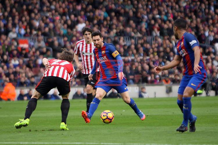 League Santander 2016/2017. Game: 21.<br /> FC Barcelona vs Athletic Club: 3-0.<br /> Yeray vs Lionel Messi.