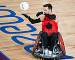 Lima, Peru -  23/August/2019 -  Cody Caldwell (#9) in action as Canada takes on Argentina in wheelchair rugby at the Parapan Am Games in Lima, Peru. Photo: Dave Holland/Canadian Paralympic Committee.