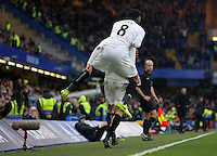 Leroy Fer of Swansea celebrates with goal scorer Fernando Llorente during the Barclays Premier League match between Chelsea and Swansea City at Stamford Bridge, London, England, UK. Saturday 25 February 2017