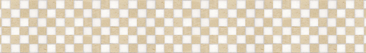 """5 7/8"""" Check Border border, a hand-cut stone mosaic, shown in polished Thassos and Crema Marfil."""