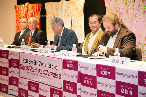 "April 24, 2013, Tokyo, Japan - (L to R) The organizer of KYOMAF Takayuki Mastutani, the Mayor of Kyoto Daisaku Kadokawa and the represent of Japan EXPO (in France) Thomas Sirdey sign documents in the press conference of ""Kyoto international Manga Anime Fair 2013"" at Kabukiza Tower in Tokyo. In the press conference the organizers of KYOMAF, Mayor of Kyoto and Japan EXPO (in France) signed a document to collaborate together to promote the anime and manga culture in Europe and United States. The KYOMAF is the largest manga/anime fair in West Japan and will be free entrance for elementary school students and foreigners with passport. It will be held from September 6 to 8 at Miyako Messe, Kyoto. (Photo by Rodrigo Reyes Marin/AFLO).."
