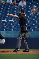 Umpire Louie Krupa strike three call during a Florida State League game between the Jupiter Hammerheads and Tampa Tarpons on July 26, 2019 at George M. Steinbrenner Field in Tampa, Florida.  Tampa defeated Jupiter 2-0.  (Mike Janes/Four Seam Images)