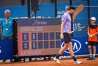 Amstelveen, Netherlands, 1 August 2020, NTC, National Tennis Center, National Tennis Championships, Men's final: Gijs Brouwer (NED) walks past the scoreboard<br /> Photo: Henk Koster/tennisimages.com