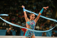 """Evgenia Kanaeva of Russia circles with ribbon during seniors event finals at 2007 World Cup Kiev, """"Deriugina Cup"""" in Kiev, Ukraine on March 18, 2007."""