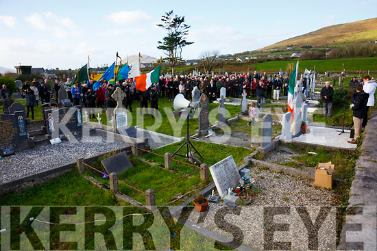 Captain Maurice O'Neill (Óglaigh na hÉireann) from Letter, Cahersiveen who was remembered on the 75th anniversary of his execution in Mountjoy Gaol on Sunday, pictured here at Keelavarnogue Cemetery on Sunday a Colour Party and spectators.