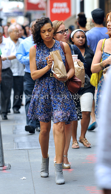 WWW.ACEPIXS.COM<br /> <br /> June 25 2013, New York City<br /> <br /> Actress Rosario Dawson gets a takeout lunch from Five Guys Burgers on the Upper West Side on June 25 2013 in New York City<br /> <br /> By Line: Romeo/ACE Pictures<br /> <br /> <br /> ACE Pictures, Inc.<br /> tel: 646 769 0430<br /> Email: info@acepixs.com<br /> www.acepixs.com