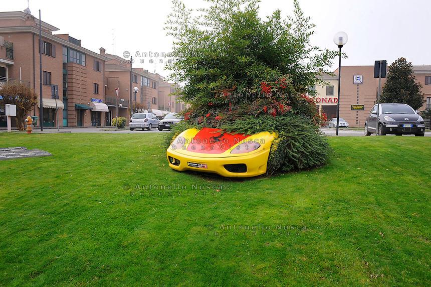 Un giardino di Maranello.A garden in Maranello, the small city where the Italian sports car manufacturer is based.