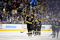 April 25, 2018: Boston Bruins defenseman Zdeno Chara (33) salutes fans after game seven of the first round of the National Hockey League's Eastern Conference Stanley Cup playoffs between the Toronto Maple Leafs and the Boston Bruins held at TD Garden, in Boston, Mass. Boston defeats Toronto 7-4 and wins the best of seven series 4 games to 3 to advance to round two.