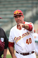 Southern California Trojans Head Coach Dan Hubbs (40) meets with the umpires before a game against the Mississippi State Bulldogs at Dedeaux Field on March 5, 2016 in Los Angeles, California. Mississippi State defeated Southern California , 8-7. (Larry Goren/Four Seam Images)