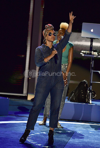 Alicia Keys rehearses prior to her performance closing the second session of the 2016 Democratic National Convention at the Wells Fargo Center in Philadelphia, Pennsylvania on Tuesday, July 26, 2016.<br /> Credit: Ron Sachs / CNP/MediaPunch<br /> <br /> <br /> (RESTRICTION: NO New York or New Jersey Newspapers or newspapers within a 75 mile radius of New York City)