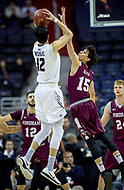 Washington, DC - MAR 7, 2018: George Washington Colonials guard Yuta Watanabe (12) shoots a jump shoot over Fordham Rams guard Cavit Havsa (15) during game between G.W. and Fordham during first round action of the Atlantic 10 Basketball Tournament at the Capital One Arena in Washington, DC. (Photo by Phil Peters/Media Images International)