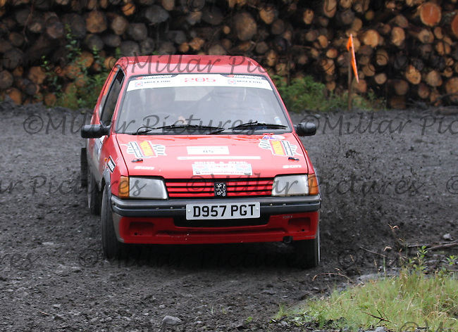 Hamish Campbell / Peter Weall at Junction 9 on Craignell, Special Stage 1 of the Ian Broll Merrick Stages Rally 2012, Round 7 of the RAC MSA Scotish Rally Championship which was organised by Machars Car Club and Scottish Sporting Car Club and based in Wigtown on 1.9.12.