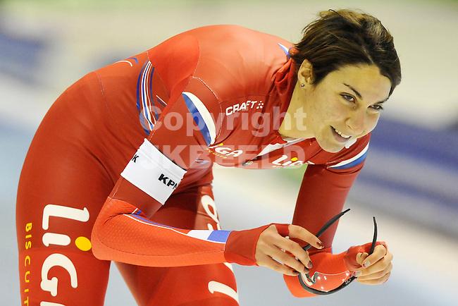 HEERENVEEN - Schaatsen,IJstadion Tialf,  NK afstanden,  1000 meter dames seizoen 2011-2012 , 05-11-2011 Margot Boer