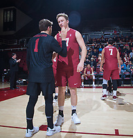 STANFORD, CA - March 2, 2019: Eli Wopat, Kyle Dagostino at Maples Pavilion. The Stanford Cardinal defeated BYU 25-20, 25-20, 22-25, 25-21.