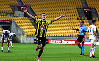 Wellington's Matija Ljujic celebrates his goal during the A-League football match between Wellington Phoenix and Sydney Wanderers at Westpac Stadium in Wellington, New Zealand on Saturday, 13 January 2018. Photo: Mike Moran / lintottphoto.co.nz