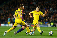 27th November 2019; Camp Nou, Barcelona, Catalonia, Spain; UEFA Champions League Football, Barcelona versus Borussia Dortmund; Rakitic and Raphel Guerreiro fight for the ball - Editorial Use