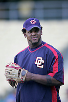 Wily Mo Pena of the Washington Nationals during batting practice before a game from the 2007 season at Dodger Stadium in Los Angeles, California. (Larry Goren/Four Seam Images)