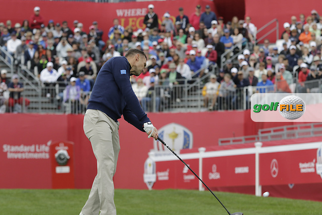 Soccer star Andriy Shevchenko playing in Match 1 of the Ryder Cup Celebrity Matches during Tuesday's Practice Day of the 41st RyderCup held at Hazeltine National Golf Club, Chaska, Minnesota, USA. 27th September 2016.<br /> Picture: Eoin Clarke | Golffile<br /> <br /> <br /> All photos usage must carry mandatory copyright credit (&copy; Golffile | Eoin Clarke)