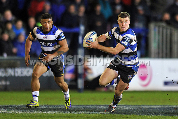 George Ford in possession. Amlin Challenge Cup match, between Bath Rugby and Bordeaux-Begles on January 16, 2014 at the Recreation Ground in Bath, England. Photo by: Patrick Khachfe / Onside Images