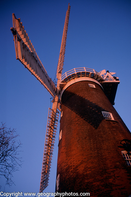 A913T9 Windmill sails and red brick tower Buttram's mill Woodbridge Suffolk England