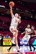 College Park, MD - NOV 16, 2016: Maryland Terrapins guard Sarah Myers (21) makes a layup during game between Maryland and Maryland Eastern Shore Lady Hawks at XFINITY Center in College Park, MD. The Terps defeated the Lady Hawks 106-61. (Photo by Phil Peters/Media Images International)