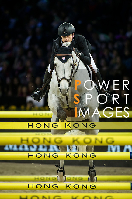 Jérôme Guery of Belgium riding Garfield de Fiji des Templiers competes in the Longines Grand Prix during the Longines Masters of Hong Kong at AsiaWorld-Expo on 11 February 2018, in Hong Kong, Hong Kong. Photo by Ian Walton / Power Sport Images
