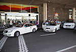 White taxis outside airport terminal two Lanzarote, Canary islands, Spain