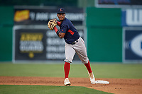 Lowell Spinners shortstop Antoni Flores (19) throws to first base during a NY-Penn League game against the Batavia Muckdogs on July 10, 2019 at Dwyer Stadium in Batavia, New York.  Batavia defeated Lowell 8-6.  (Mike Janes/Four Seam Images)