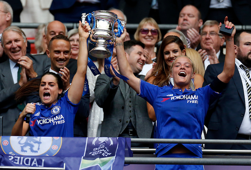 Chelsea's Claire Rafferty ( L ) and Chelsea's Katie Chapman ( R ) with Trophy<br /> <br /> Photographer Kieran Galvin/CameraSport<br /> <br /> Women's Football - The SSE Women's FA Cup Final - Notts County Ladies v Chelsea Ladies - Saturday 01 August 2015 - Wembley - London<br /> <br /> &copy; CameraSport - 43 Linden Ave. Countesthorpe. Leicester. England. LE8 5PG - Tel: +44 (0) 116 277 4147 - admin@camerasport.com - www.camerasport.com