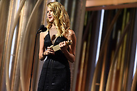 Laura Dern accepts the Golden Globe Award for BEST PERFORMANCE BY AN ACTRESS IN A SUPPORTING ROLE IN A SERIES, LIMITED SERIES OR MOTION PICTURE MADE FOR TELEVISION for her role in &quot;Big Little Lies&quot; at the 75th Annual Golden Globe Awards at the Beverly Hilton in Beverly Hills, CA on Sunday, January 7, 2018.<br /> *Editorial Use Only*<br /> CAP/PLF/HFPA<br /> &copy;HFPA/PLF/Capital Pictures