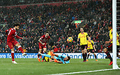 17th March 2018, Anfield, Liverpool, England; EPL Premier League football, Liverpool versus Watford; Mohammed Salah of Liverpool smashes home his fourth goal of the match after 85 minutes