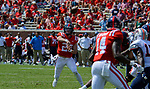 Shea Patterson passes to D.K. Metcalf during the game against UT Martin Sat., Sept. 9, 2017. Ole Miss wins 45-23. Photo by Marlee Crawford/Ole Miss Communications