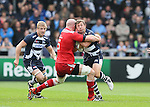 Chris Cuister of Sale Sharks tackled by Paul OConnell of Munster - European Rugby Champions Cup - Sale Sharks vs Munster -  AJ Bell Stadium - Salford- England - 18th October 2014  - Picture Simon Bellis/Sportimage