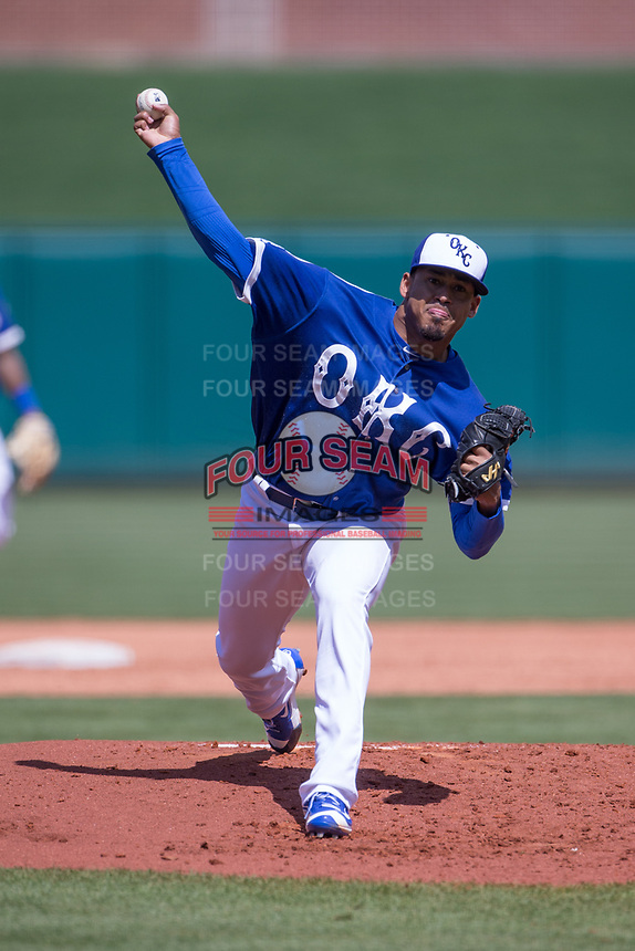 Jair Jurrjens (15) of the Oklahoma City Dodgers pitches in a game against the Iowa Cubs at Chickasaw Bricktown Ballpark on April 9, 2016 in Oklahoma City, Oklahoma.  Oklahoma City defeated Iowa 12-1 (William Purnell/Four Seam Images)