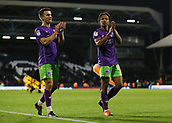 31st October 2017, Craven Cottage, London, England; EFL Championship football, Fulham versus Bristol City; Bobby Reid of Bristol City and Joe Bryan of Bristol City celebrating towards the Bristol City fans after the final whistle as Bristol City defeat Fulham at Craven Cottage by 0-2