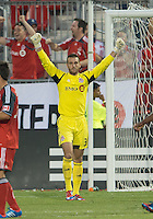 18 July 2012: Toronto FC goalkeeper Milos Kocic #30 celebrates the win at the end of an MLS game between the Colorado Rapids and Toronto FC at BMO Field in Toronto..Toronto FC won 2-1..