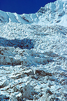 .Chaotic ice-fall on the Annapurna South glacier, Annpurna Sanctuary, Nepal Himalaya..