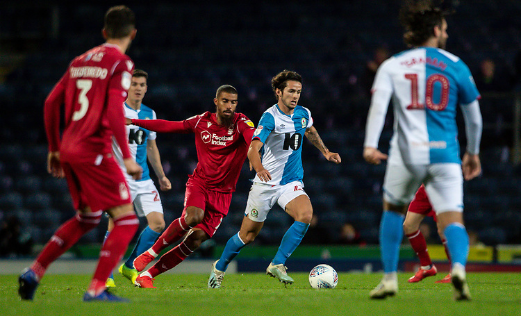 Blackburn Rovers' Lewis Travis (centre) breaks under pressure <br /> <br /> Photographer Andrew Kearns/CameraSport<br /> <br /> The EFL Sky Bet Championship - Blackburn Rovers v Nottingham Forest - Tuesday 1st October 2019  - Ewood Park - Blackburn<br /> <br /> World Copyright © 2019 CameraSport. All rights reserved. 43 Linden Ave. Countesthorpe. Leicester. England. LE8 5PG - Tel: +44 (0) 116 277 4147 - admin@camerasport.com - www.camerasport.com