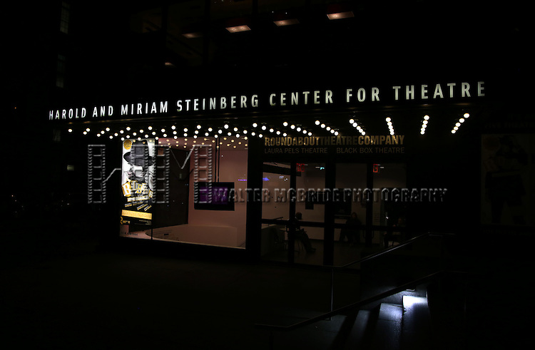 Theatre Marquee for 'The Robber Bridegroom' Off-Broadway Opening Night performance at Laura Pels Theatre on March 13, 2016 in New York City.