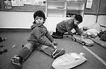 Shatila, UNRWA camp. &quot;Beit Atfal As Sumood&quot;, a social aid NGO, takes care of the children. Here, the Kindergarden.  <br />  <br /> Chatila, camp de l'UNRWA. &laquo;Beit Atfal As Soumoud&raquo;, une ONG d'aide sociale &agrave; l'int&eacute;rieur du camp prend en charge les enfants. Ici le jardin d'enfants.